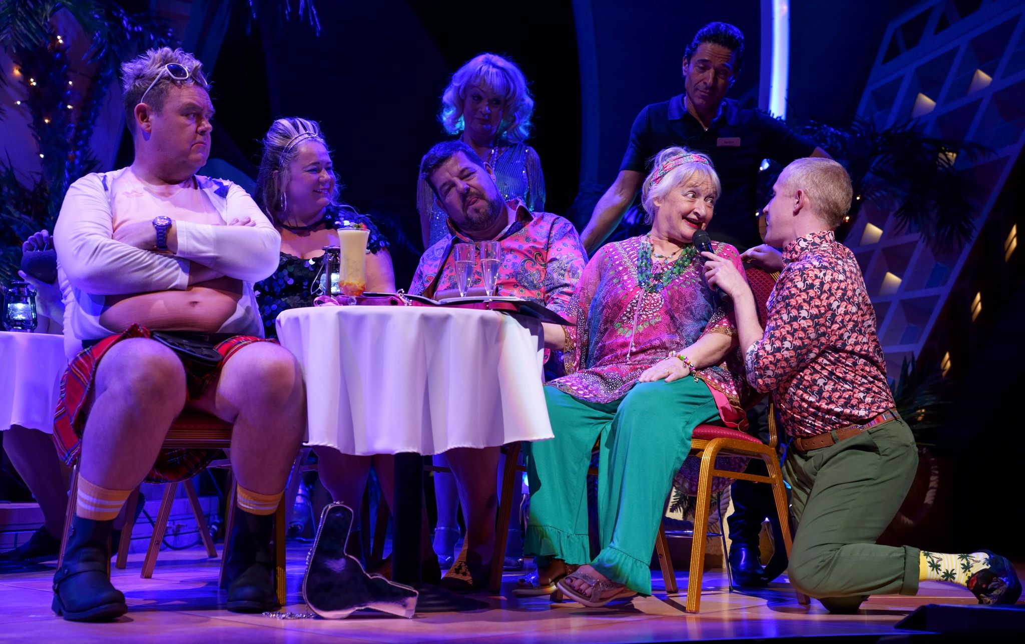 1. BENIDORM LIVE. Tony Maudsley 'Kenneth', Shelley Longworth 'Sam', Damian Williams 'Derek', Janine Duvitski 'Jacqueline', Adam Gillen 'Liam'. Photo Paul Coltas